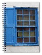 window in blue - British style window in a mediterranean blue Spiral Notebook