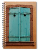 Window With Turqouise Shutters In Colmar France Spiral Notebook
