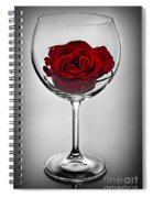 Wine Glass With Rose Spiral Notebook