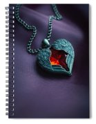 Winged Heart With Red Gem Spiral Notebook