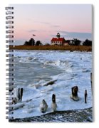 Winter At East Point Lighthouse  Spiral Notebook