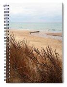 Winter Beach At Pier Cove Spiral Notebook
