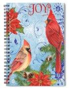 Winter Blue Cardinals-joy Card Spiral Notebook