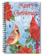 Winter Blue Cardinals-merry Christmas Card Spiral Notebook