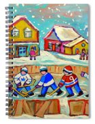 Winter Fun At Hockey Rink Magical Montreal Memories Rink Hockey Our National Pastime Falling Snow   Spiral Notebook