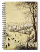 Winter Landscape With Skaters And A Bird Trap Spiral Notebook