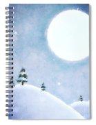 Winter Moon Over Snowy Landscape Spiral Notebook