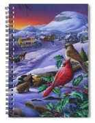 Winter Mountain Landscape - Cardinals On Holly Bush - Small Town - Sleigh Ride - Square Format Spiral Notebook
