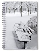 Winter Park With Benches Spiral Notebook