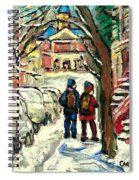 Winter Scene Painting Rows Of Snow Covered Cars First School Day After Christmas Break Montreal Art Spiral Notebook