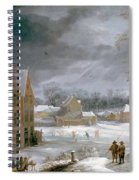 Winter Scene With A Man Killing A Pig Spiral Notebook