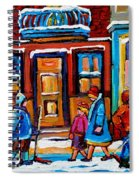 Winter Street In Saint Henri Spiral Notebook