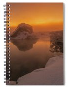 Winter Sunset And Fog Over Lake Myvatn Spiral Notebook