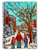 Winter Walk Montreal Paintings Snowy Day In Verdun Montreal Art Carole Spandau Spiral Notebook