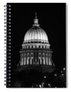 Wisconsin State Capitol Building At Night Black And White Spiral Notebook