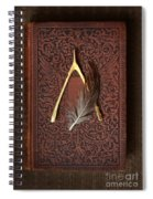 Wishbone And Feather On Antique Book Spiral Notebook