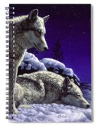 Wolf Painting - Night Watch Spiral Notebook