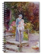 Woman And Child In A Cottage Garden Spiral Notebook