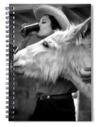 Woman And Donkey Black And White Spiral Notebook