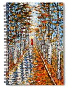Woman In Red In Fall Rainy Day Spiral Notebook
