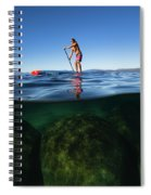 Woman Paddleboarding In The Lake, Lake Spiral Notebook