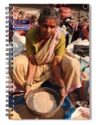 Woman Sifting In A Street Market India Spiral Notebook
