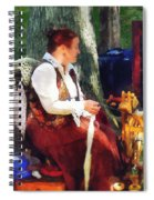 Woman Spinning Yarn At Flea Market Spiral Notebook