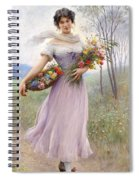 Woman With Flowers Spiral Notebook