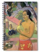 Woman With Mango Spiral Notebook