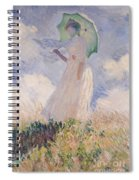 Woman With Parasol Turned To The Left Spiral Notebook