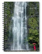 Woman With Umbrella At Wailua Falls Spiral Notebook