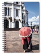Woman With Umbrella - Moscow - Russia Spiral Notebook