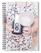 Woman With Vintage Camera Spiral Notebook