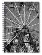 Wonder Wheel Of Coney Island In Black And White Spiral Notebook