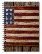 Wooden American Flag On Wood Wall Spiral Notebook