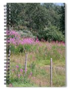 Wooden Fence And Pink Fireweed In Norway Spiral Notebook
