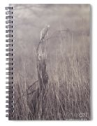 Wooden Fence Post On A Foggy Winter Day Spiral Notebook