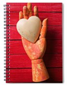 Wooden Hand With White Heart Spiral Notebook