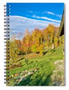 Wooden Lodge In Autumn Mountain Nature Spiral Notebook