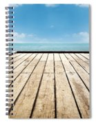 Wooden Surface Sky Background Spiral Notebook