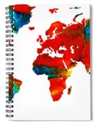 World Map 12 - Colorful Red Map By Sharon Cummings Spiral Notebook