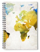 World Map 16 - Yellow And Blue Art By Sharon Cummings Spiral Notebook