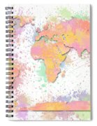 World Map 2 Digital Watercolor Painting Spiral Notebook