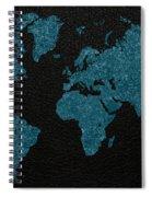 World Map Blue Vintage Fabric On Dark Leather Spiral Notebook
