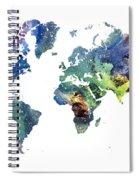 World Map Cosmos Spiral Notebook