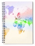 World Map Crumpled Multi-coloured Spiral Notebook