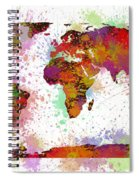 World Map Digital Watercolor Painting Spiral Notebook
