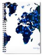 World Map In Blue Lights Spiral Notebook