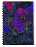 World Map - Purple Flip The Dark Night - Abstract - Digital Painting 2 Spiral Notebook