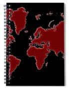 World Map Red Grid Spiral Notebook